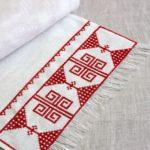 полотенце для бани с декором в финском стиле